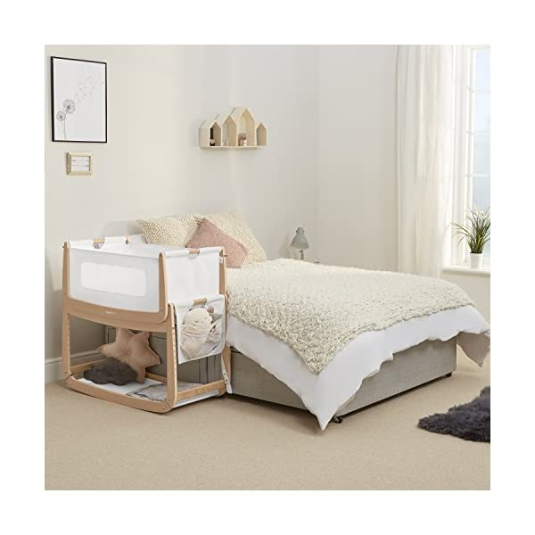 SnuzPod 3 Bedside Crib - Natural Snuz SnuzPod 3 has added functionality, a lighter bassinet and a more breathable sleeping environment. More than just a bedside crib; use as a bedside crib, stand alone crib or moses basket/bassinet. Simply attach the crib to your bed using straps provided (fits frame and divan beds) and your ready use as a bedside crib. The 9 different height settings allow you to ensure the crib is the right height for your bed (31-63cm) New! SnuzPod 3 now comes with an optional reflux function, by tilting the crib and setting an incline to reduce reflux symptoms little one can get a better nights sleep. 6