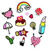 #10: MagiDeal 13 Pieces Cute Embroidered Sew on Iron on Repair Patches DIY Rainbow Heart Lipstick Appliques