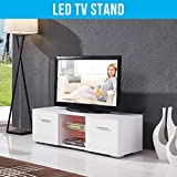 """UEnjoy Modern 47"""" High Gloss TV Cabinet TV Unit TV Stand with 2 Drawers FREE LED,White"""