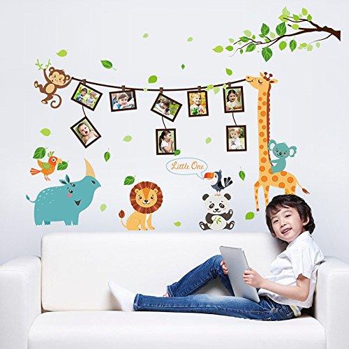 ufengke® Tier Baum Bilderrahmen Wandabziehbilder,Kinderzimmer Babyzimmer Entfernbare Wandtattoos Wandbilder