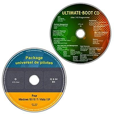 CD/DVD du universel de pilotes pour tous les modèles de PC et de Notebooks Windows 10 / 8 / 7 / Vista / XP (32 & 64 Bit) + Ultimate Boot CD / CD d'assistance et d'aide urgente pour les systèmes d'exploitation Windows [outils de diagnostic et de réparation