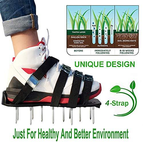 ZDYLM-Y Rasenlüfter Schuhe 4 Zink-Legierung Buckles Spiked Belüften Rasen Sandalen, 26 Nägel für Belebungs Ihren Rasen oder Yard, 4 verstellbaren Trägern Universalgröße