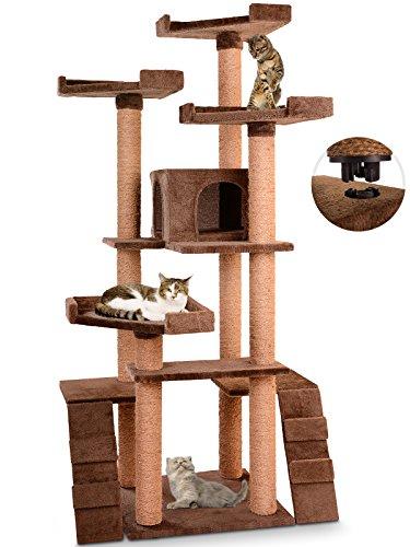 Leopet Kratzbaum für Katzen Höhe 160 cm Kommode 1 Höhle und 4 Plattformen und 2 Treppen - verschiedene Farben zur Auswahl (Braun)