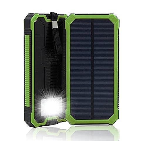 Chargeur solaire 20000mAh double port USB Portable Power Bank Batterie externe avec lumières LED étanche pour iPhone iPad portables smartphones et autres appareils numériques 100Sports