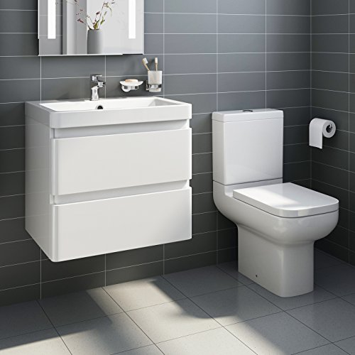 wall hung vanity sink unit bathroom furniture short projection toilet