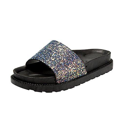 BHYDRY Sandali Estivi Donna Paillettes Round Toe Tacco Piatto Sandali Pantofola Scarpe da Spiaggia(35EU,Blu)