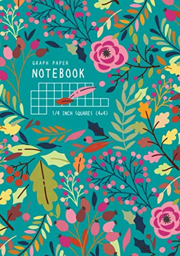Graph Paper Notebook 1/4 Inch Squares: A5 Medium Composition Book Quad Ruled for Math and Science | 4 Grids per Inch - 4x4 | Colorful Autumn Floral Design Teal