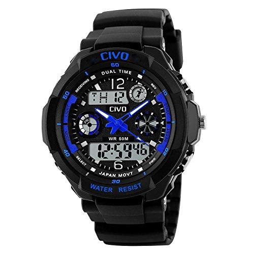 CIVO-Mnner-Jungen-Frauen-Mdchen-Kinder-Mode-Einfach-LED-Analog-Sportuhr-Digital-Armbanduhr-Wasserdichte-Casual-Militr-Herren-Tactical-Uhr-Silikonband-Kalender-Wecker-fr-Herren-Uhren-Blau