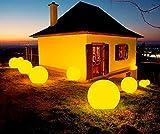 Sazuitou multifunktionale farbwechselnde Outdoor Akku LED Gartenleuchte Kugelleuchte in versch. Größen - 7 Farben (50cm)