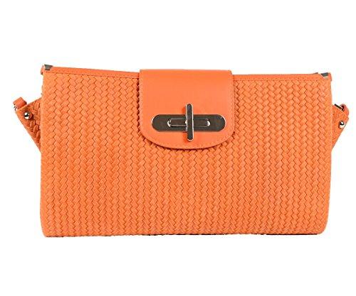 Designer Italienische Tasche Leder Handbag geflochtene Look Echtledertasche Handtasche Schultertasche Clutch Umhängetasche Borsetta Pochette Orange Gelb Apricot (Tasche Prada Tote Leder)
