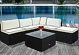 Deuba Polyrattan Lounge Set Schwarz inkl. 7cm Dicke Sitzkissen & 20cm Dicke Rückenkissen + Tisch mit Glasplatte - Sitzgruppe Gartenlounge Gartenmöbel Garten Möbel