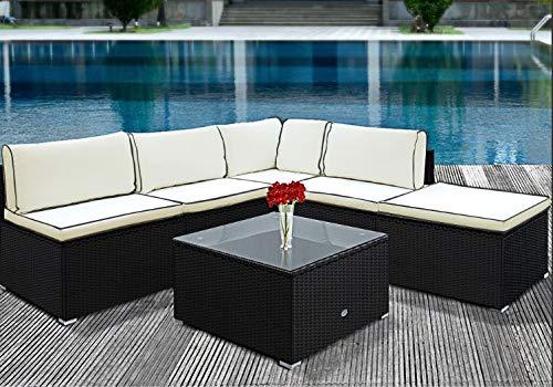 Deuba Polyrattan Lounge Set Schwarz inkl. 7cm Dicke Sitzkissen & 20cm Dicke Rückenkissen + Tisch...