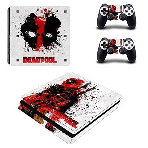 Playstation 4 Slim + 2 Controller Aufkleber Schutzfolien Set - Deadpool /PS4 S