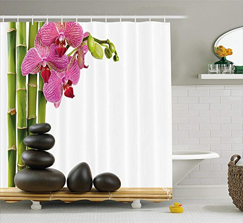 JIEKEIO Spa Decor Shower Curtain, Beautiful Pink Orchid with Bamboos and Black Hot Stone Massage Image, Fabric Bathroom Decor Set with Hooks, 60 * 72inch Extra Long, Green Fuchsia