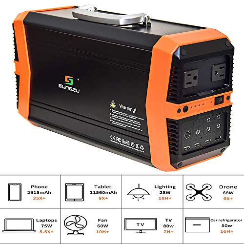 TIANQING Tragbarer 500-W-Wechselstrom-Power-Bank-Generator, geladen über Solarpanel 14,8 V / 39 Ah (2 DC-Ausgang) Externer Akku, kompatibel mit Mac Book, HP Power-solarzellen