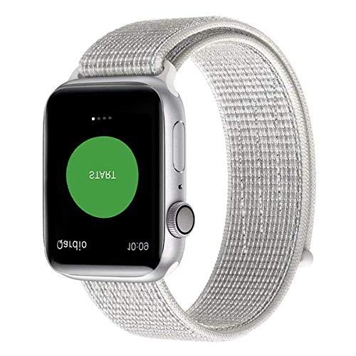 Naomo Kompatibel mit Watch Armband 38mm/40mm, Weiches Nylon Ersatz Uhrenarmband Ersatz für Watch Series 4, Series 3, Series 2, Series 1 (38mm/40mm, Reflektierend Weiß)