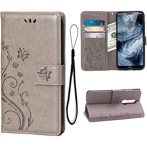 Teebo Hülle für Nokia 6.1 Plus/Nokia X6 Schutzhülle aus PU Leder Handyhülle mit geprägtem Schmetterling-Muster Kartenfach & Magnetverschluss grau