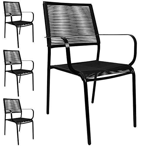 4er Set Spaghetti Gartenstuhl Stapelbar, Metall Beschichtet Mit  PVC Bespannung, Schwarz, Campingstuhl