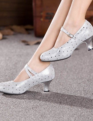ShangYi Chaussures de danse (Argent/Or) - Non personnalisable - Talon Large - Cuir - Moderne Silver