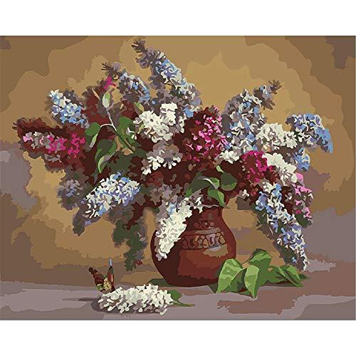 Wohnkultur Leinwand Druck Lila Rot Weiß Lavendel Und Vintage Vase DIY Ölgemälde Für Erwachsene Malen Nach Zahlen Wandkunst-Ohne Rahmen 40X50Cm