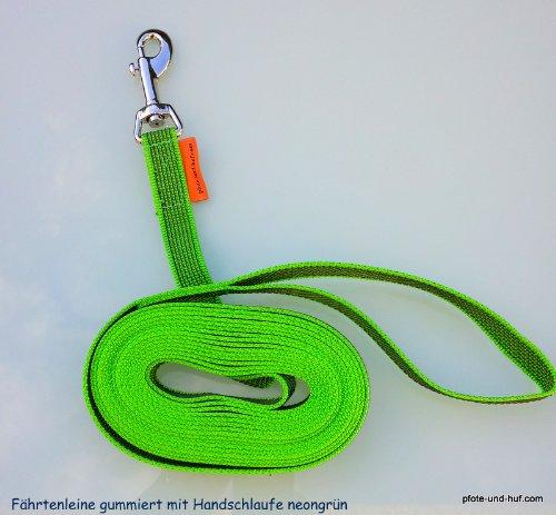 Artikelbild: elropet Gummierte Hundeleine Fährtenleine Schleppleine 20m mit Handschlaufe neongrün