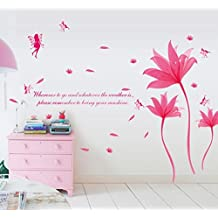 UberLyfe Pink Flower Wall Sticker Size 4 (Wall Covering Area: 137cm x 190cm) - WS-1054-Pink