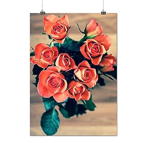 Basket De rouge Des roses Amour Une Matte/Glacé Affiche A2 (60cm x 42cm) | Wellcoda