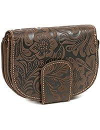 Damenbörse mit ''Lilien-Muster'' im Vintage-Stil LEAS in Echt-Leder, braun - ''LEAS Vintage-Collection''