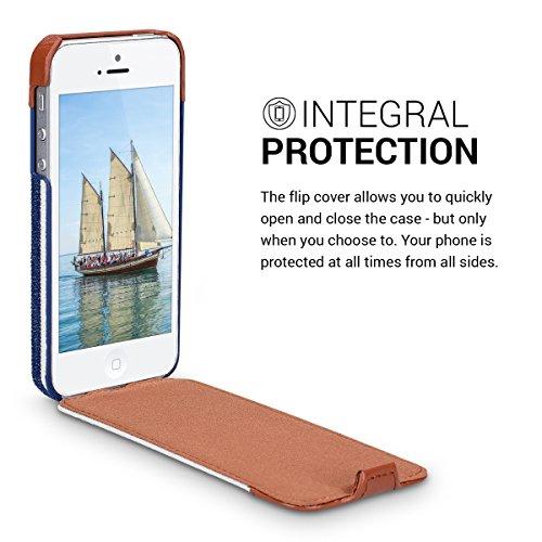 kalibri Cover Emma per Apple iPhone SE / 5 / 5S - Custodia libro in vera pelle e tessuto Flip cover protettiva case per cellulare blu marrone righe blu bianco