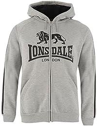 Lonsdale Mens 2 Stripe Zipped Hoody Zip Hoodie Hooded Top Long Sleeve Warm Print