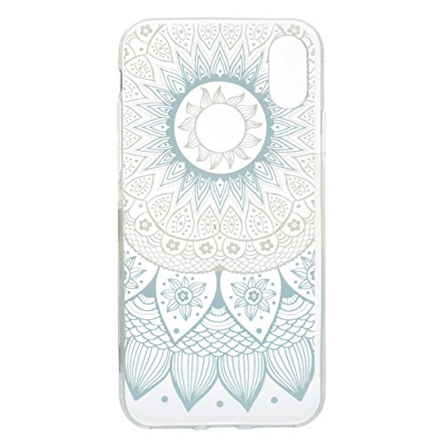 inShang iPhone X 5.8inch custodia cover del cellulare, Anti Slip, ultra sottile e leggero, custodia morbido realizzata in materiale del TPU, frosted shell , conveniente cell phone case per iPhone X 5. Blue patterm