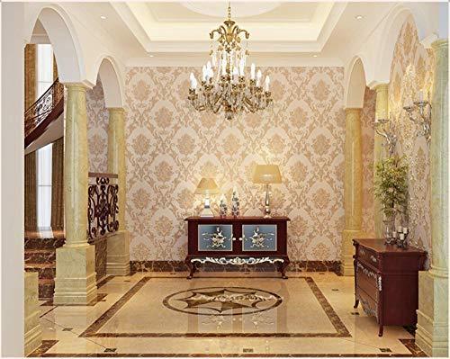 Tapete Geprägte Blume 3D 0.53X 9.5 m-Champagner Vliestapete Wohnzimmer Schlafzimmer Restaurant Fernseher Sofa Hintergrund Wand Hintergrundbild Haus Dekoration -