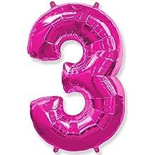 (OFERTA ANTES 5,95€) Globo número 3 para fiestas de cumpleaños, XXL Medida 100 cm, inflándolo con HELIO flotará durante 5/6 días. (FUCSIA)