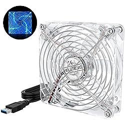 ELUTENG Ventilateur USB 5V 120mm Silencieux Ventilateurs PC USB Fan avec Grille Métal Ventilateur Ordinateur 12 cm pour PC/TV Box/Meuble AV / PS4 / Xbox