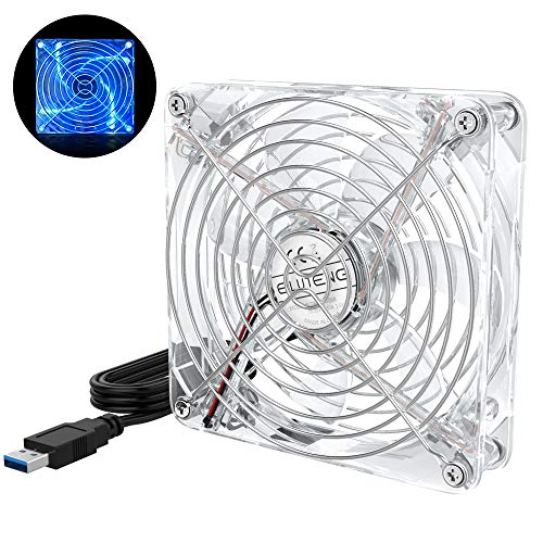 ELUTENG 120mm Lüfter USB Transparent Ultra Leise USB Ventilation mit blauem LED-Licht 5V PC Lüfter USB Kühler Kompatibel für Receiver, Router, Laptop, DVR, Playstation, Xbox, Computerlüfter