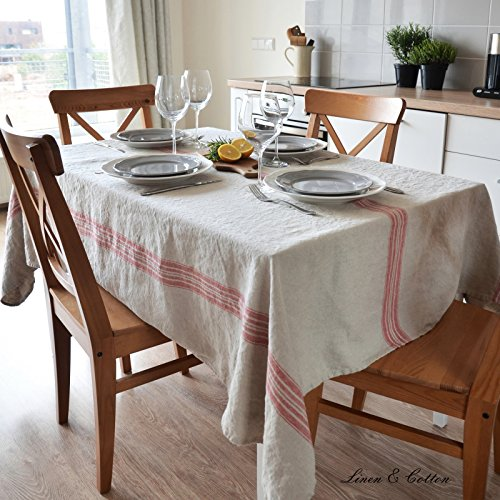 Linen & Cotton Luxus Vintage Shabby Chic Tischdecke PROVENCE - 100% Leinen (136 x 300 cm), Natur/ Beige/ Rot Streifen (Streifen Natur Beige)