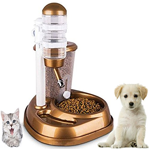 Dr Nezix 2 in 1 Golden Automatic Pet Dog Cat Feeder Waterer Puppy Water Drinker Dispenser Food Water Bowl