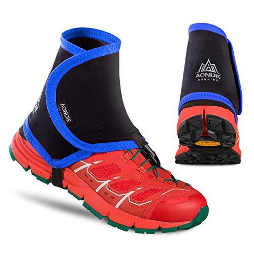 Azarxis Low Trail Ghette Copriscarpe di Protezione Wrapid Gators per Uomini e Donne e Giovani Running Arrampicata (Blu & Nero)
