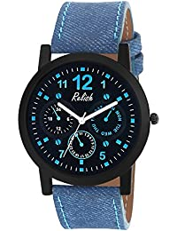 RELISH RE-S8122BB Black Slim Analog Watches For Men's And Boy's