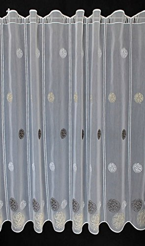 Scheibengardine Bestickte Kugeln 100 cm Hoch | Breite der Gardine durch gekaufte Menge in 15,5 cm Schritten wählbar (Anfertigung Nach Maß) | weiß mit Creme/Braun | Vorhang Küche Wohnzimmer