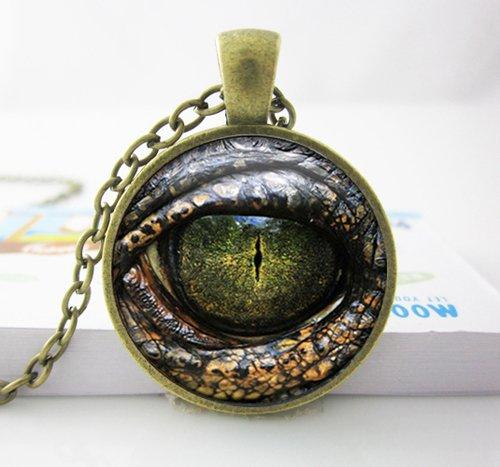 Haut Kostüm Reptil - DADATU Halsketten für Herren Handgefertigte Anhänger Halskette Reptil Auge Schmuck Glas Cabochon Spiel Der Throne Drachenauge Halskette