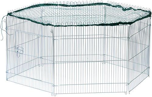 dobar 80614 Freilaufgehege 6-eckig verzinkt aus Metall mit Nylon Netz, Kaninchengehege für Jungtiere für draußen, Nagergehege wetterfest 123 x 106 x 60 cm, silber