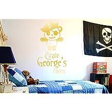 personalizado Pirate Captain Panda Kids Room Sign Vinilo Pegatinas De Pared Decorativo - Gran (Alto 101cm x Ancho 57cm) Oro Brillante