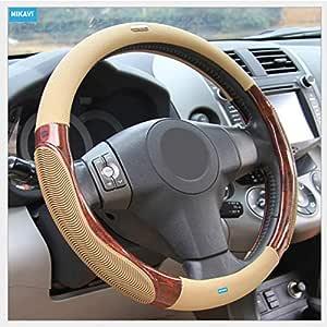 Nikavi Luxury Microfiber Leather Auto Car Steering Wheel Cover Universal 15 Inch (Beige)