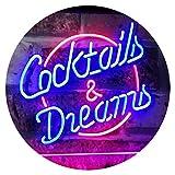 AdvPro 2C Cocktails & Dreams Bar Beer Wine Drink Pub Club Dual Color LED Barlicht Neonlicht Lichtwerbung Neon Sign Red & Blue 400mm x 300mm st6s43-i2079-rb