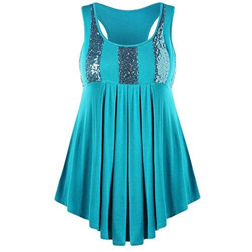 MAYOGO Kleid Farbverlauf Kurz Minikleid,Damen Ohne ärmel Vintage Glitzer Zipfel Kleid,Freizeit Sexy Große Größen Tshirt Dress ()