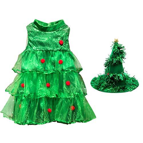E.Life Neonata in Forma di Vestito da Albero di Natale Vestito di Velluto Verde Vestiario di Paillettes Rosso Vestito da Partito Costume da Sposa Pelliccia con Cappello (4-5T)