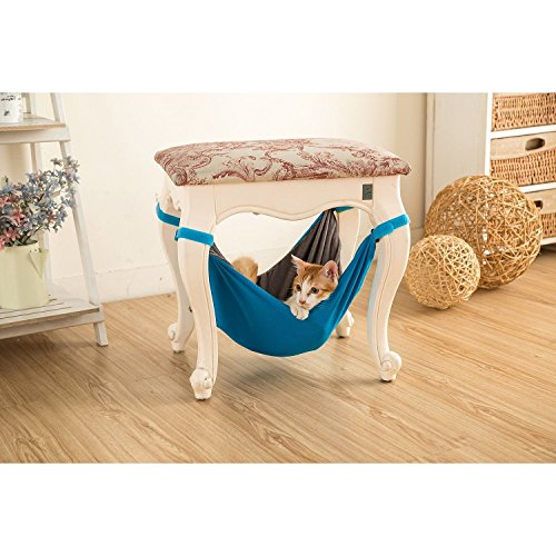 Hammock bed for cats - Soft and comfortable hammock for pets with chair for kitten, ferret, puppy or pet (Blue)