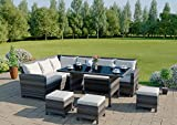 9 Seater Rattan Corner Garden Sofa & Dining Set Furniture Black Brown Dark MixedGrey Outdoor Protective Cover Included (Dark Mixed Grey With Light Cushions)