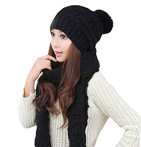 Da.Wa di lana sciarpe e cappello SET Donna Caldo moda nero
